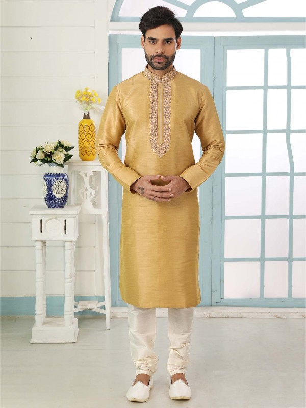 Golden in Banarasi Silk Fabric Designer Kurta Pajama.