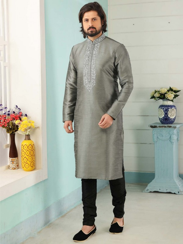 Banarasi Silk Men's Designer Kurta Pajama in Grey Colour.