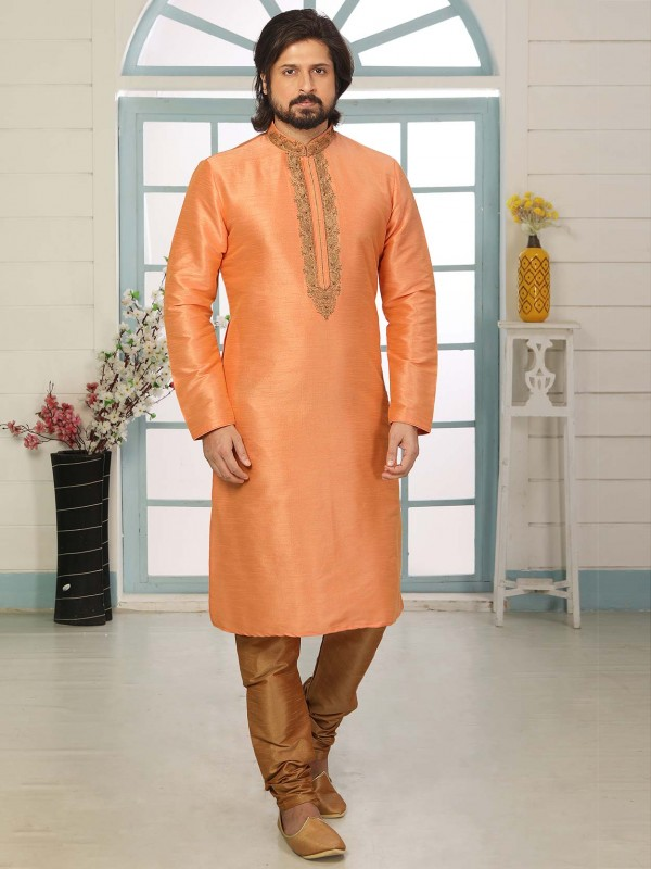 Peach Colour Wedding Kurta Pajama in Banarasi Silk Fabric.