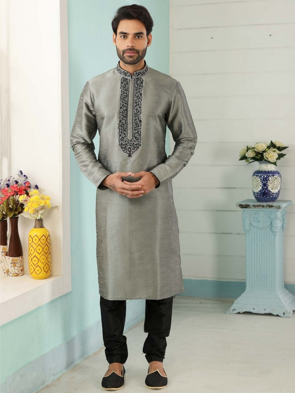 Grey Colour Banarasi Silk Kurta Pajama.
