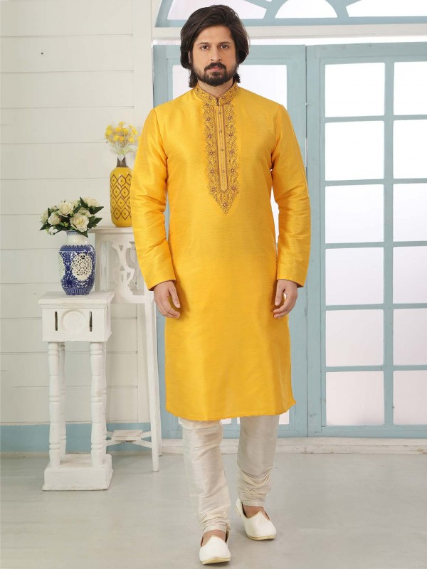 Banarasi Silk Fabric Designer Kurta Pajama in Yellow Colour.