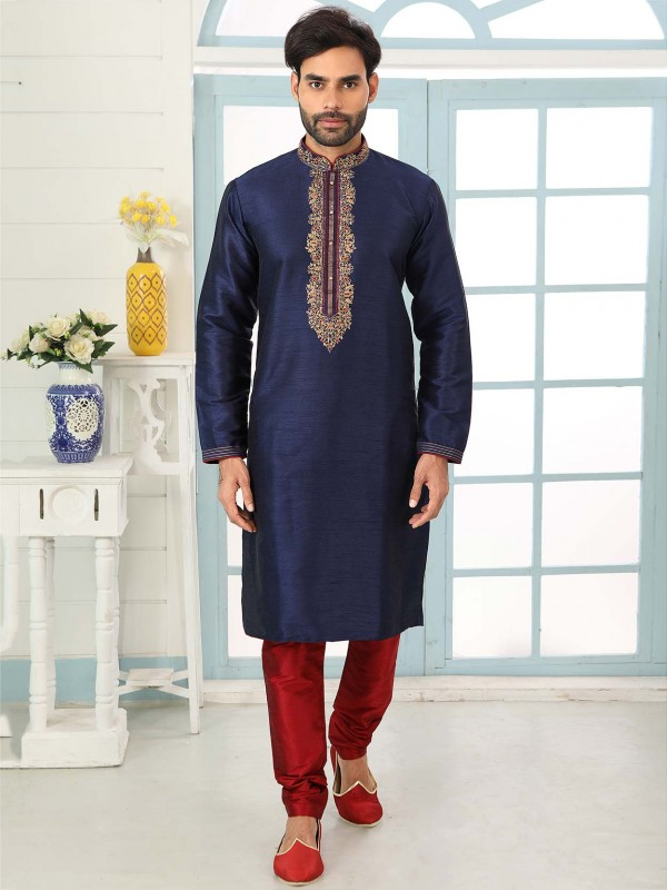 Designer Kurta Pajama Navy Blue Colour.