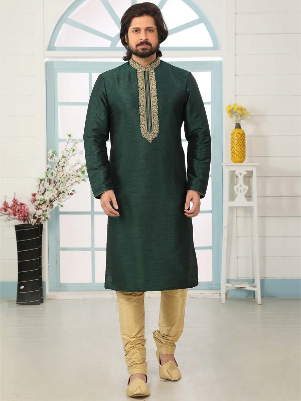 Dark Green Designer Kurta Pajama in Banarasi Silk Fabric.