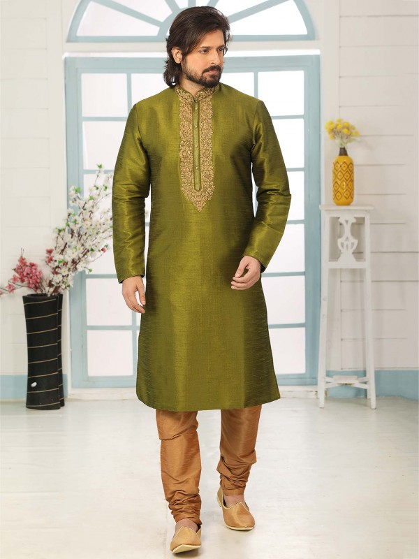 Green Colour Banarasi Silk Men's Kurta Pajama.