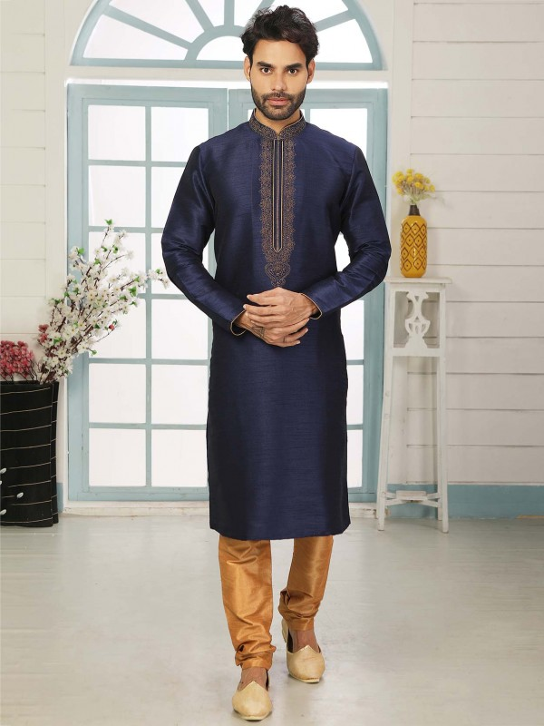 Navy Blue Colour Party Wear Kurta Pajama.