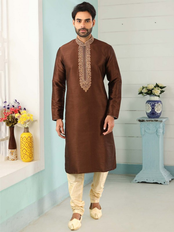 Brown Colour Banarasi Silk Men's Kurta Pajama.