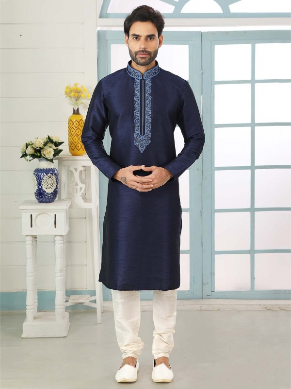 Banarasi Silk Designer Kurta Pajama in Navy Blue Colour.