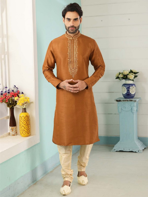 Rust Colour Banarasi Silk Readymade Kurta Pajama.