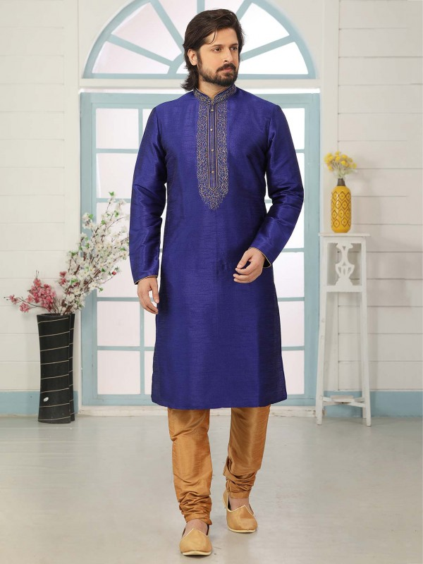 Blue Colour Banarasi Silk Men's Kurta Pajama.