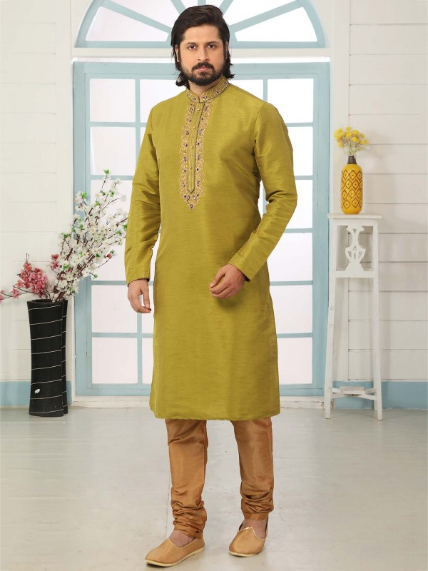 Green Colour Men's Designer Kurta Pajama in Banarasi Silk Fabric.