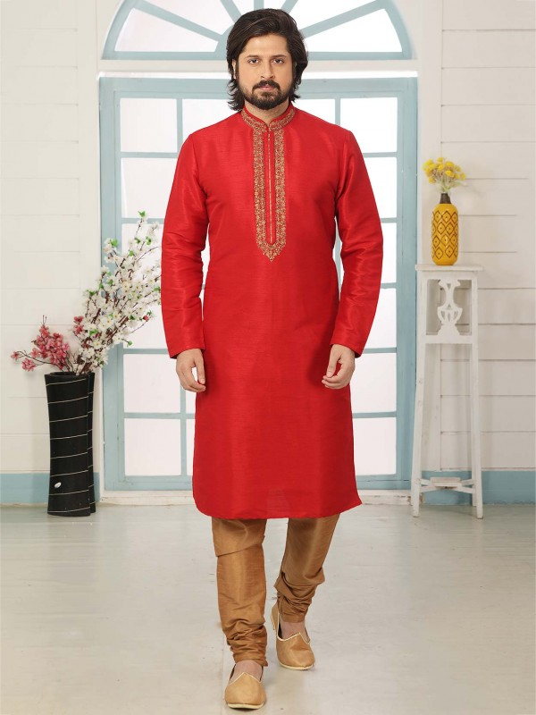 Red Colour Indian Designer Kurta Pajama Banarasi Silk Fabric.