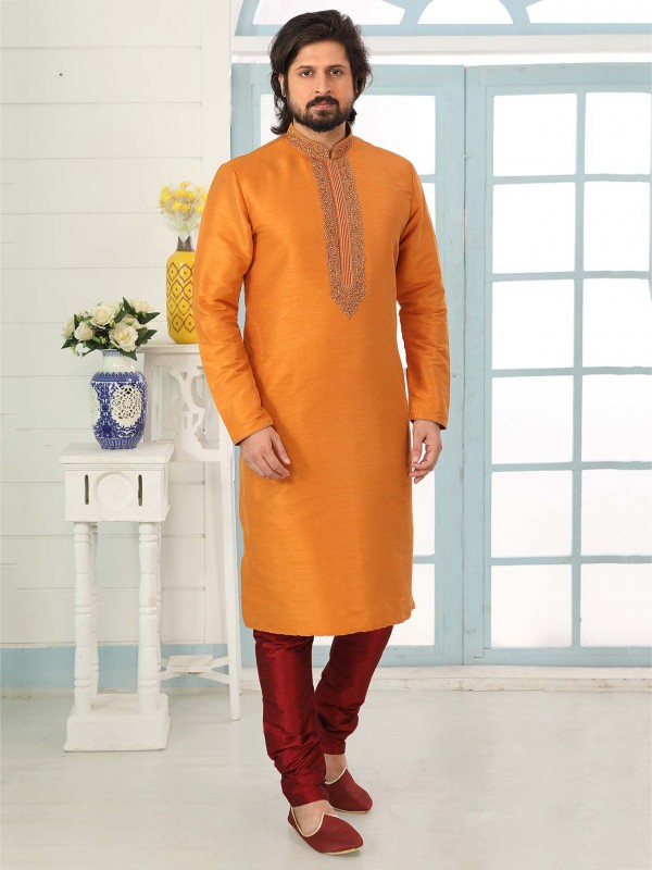Rust Colour Traditional Kurta Pajama in Banarasi Silk Fabric.