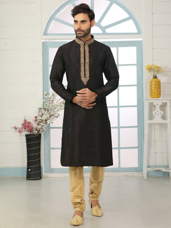 Black Colour Banarasi Silk Party Wear Kurta Pajama.