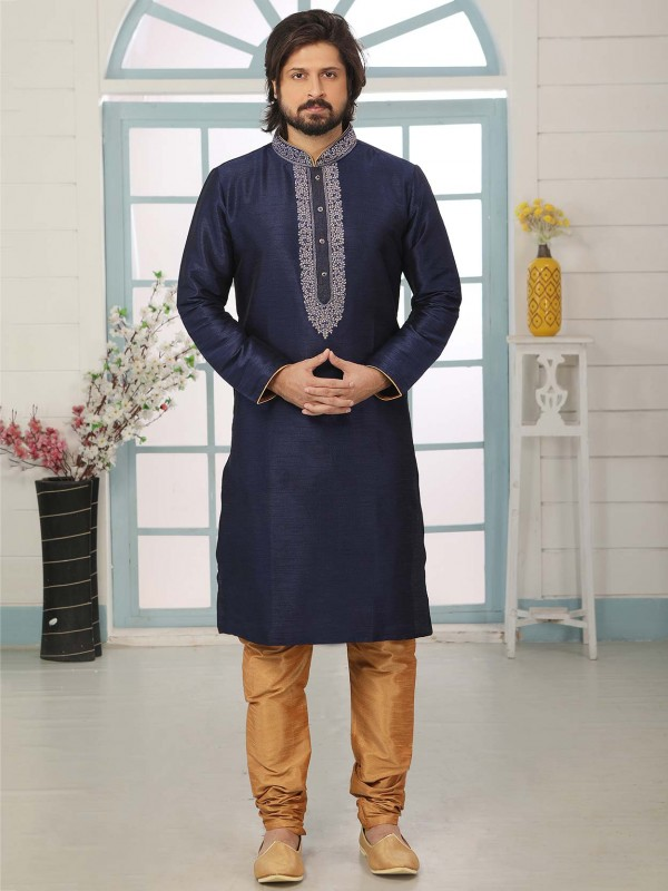 Navy Blue Colour Men's Designer Kurta Pajama.