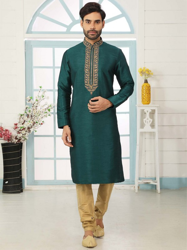 Teal Green Colour Embroidered Kurta Pajama.