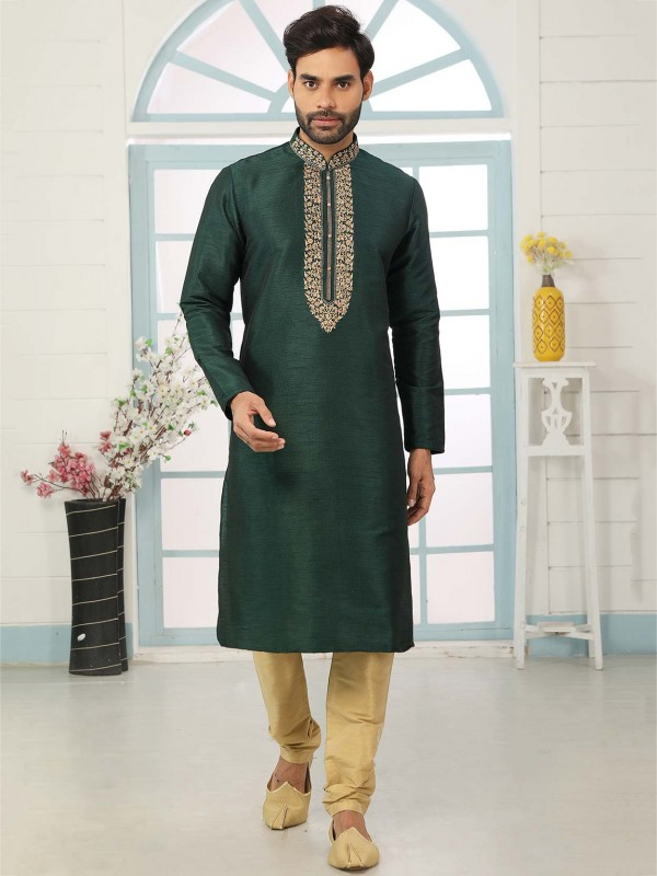Dark Green Colour Banarasi Silk Kurta Pajama.