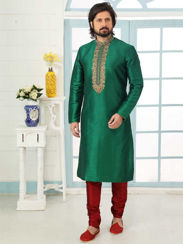 Green Colour Banarasi Silk Men's Designer Kurta Pajama.