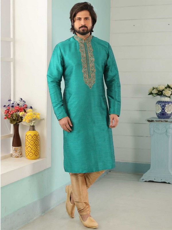 Banarasi Silk Men's Kurta Pajama in Teal Green Colour.