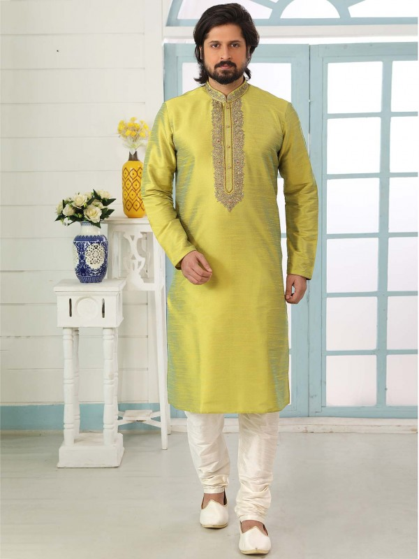 Parrot Green Colour Banarasi Silk Readymade Kurta Pajama.