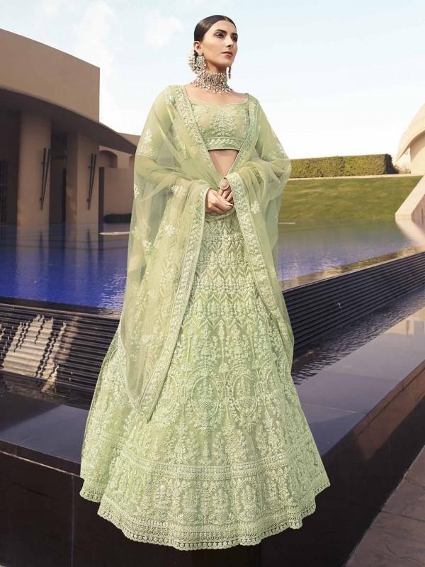 Green Colour Net Designer Lehenga Choli.