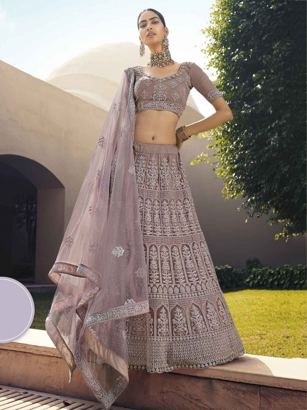 Pink Colour Net Wedding Lehenga Choli with Sequin,Thread Work.
