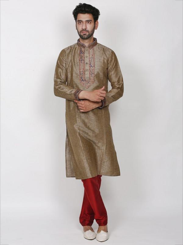 Brown Colour Silk Kurta Pajama.