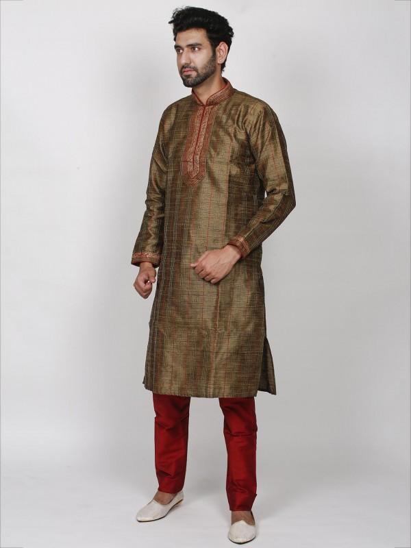 Silk Readymade Kurta Pajama in Brown Colour.