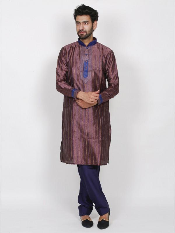 Purple Colour Silk Fabric Mens Kurta Pajama With Thread Work.