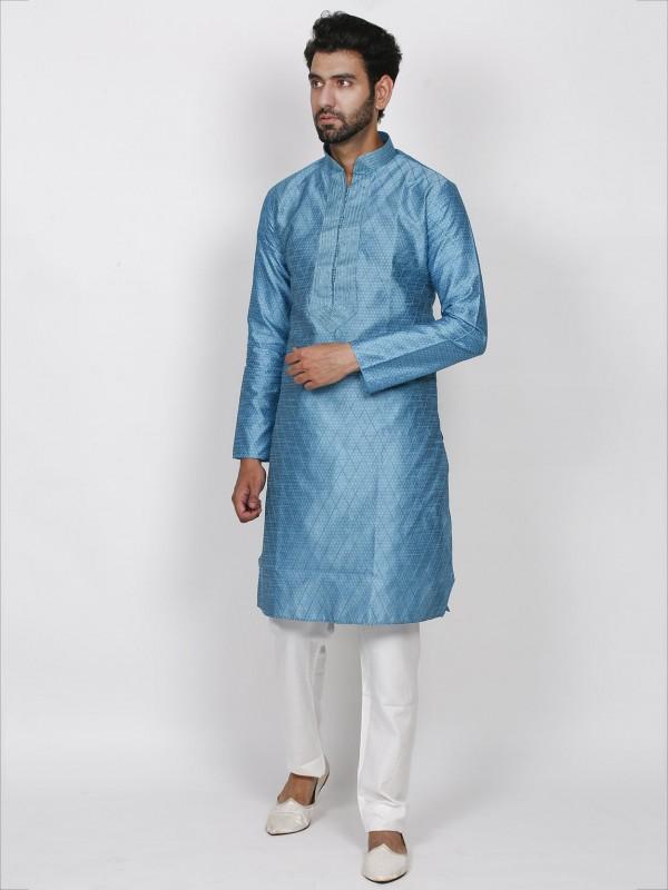 Turquoise Colour Brocade Fabric Men's Kurta Pajama.