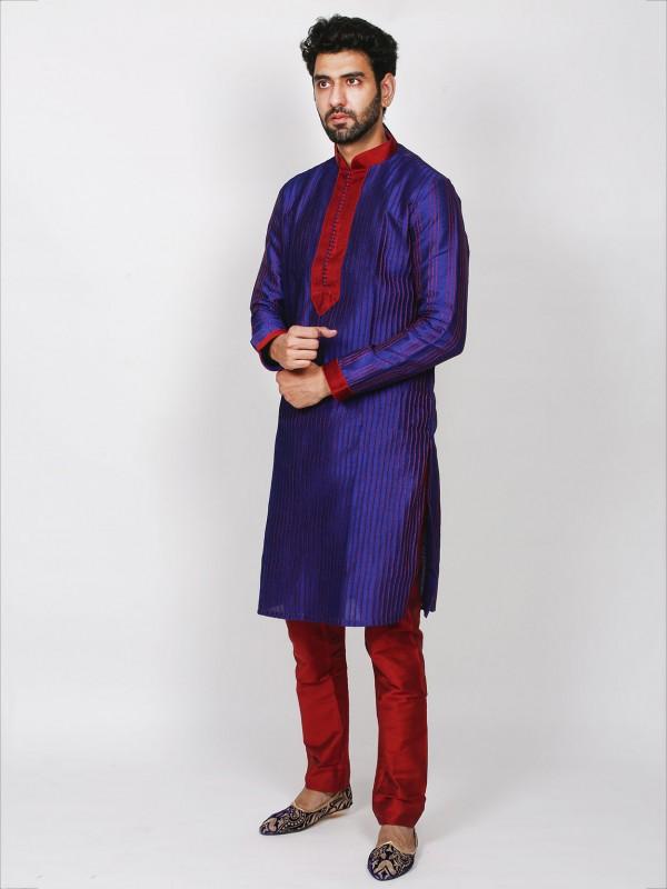 Blue Colour Designer Kurta Pajama in Dupion Silk Fabric.