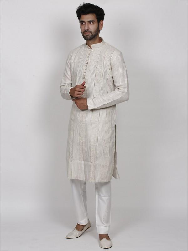Elegant Off White Colour Linen Fabric Men's Kurta Pajama.