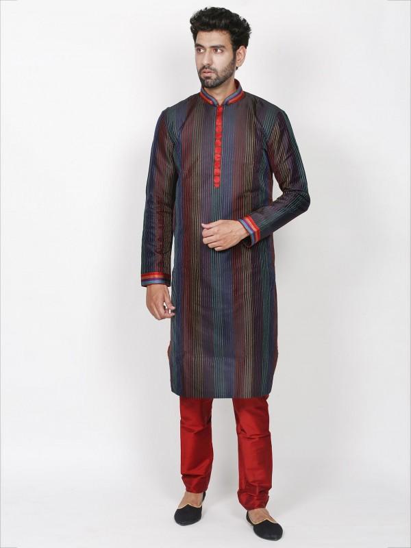 Black,Multi Colour Silk Kurta Pajama.