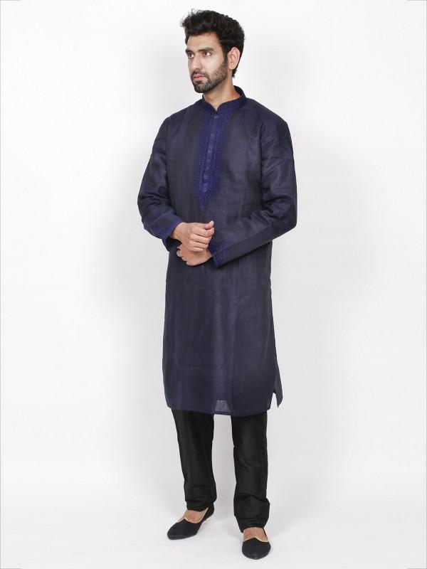 Dark Blue Colour Linen Fabric Party Wear Kurta Pajama.