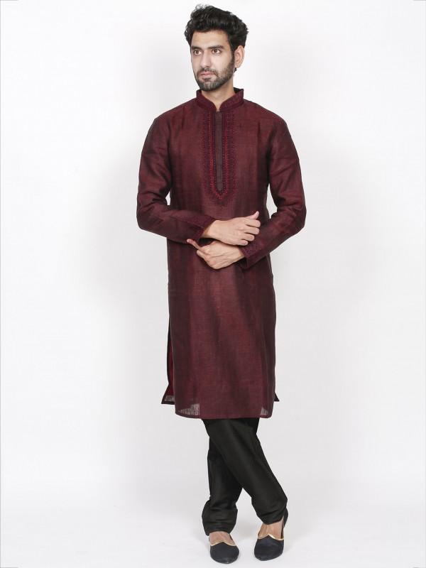 Exclusive Designer Kurta Pajama Wine Colour in Linen Fabric.
