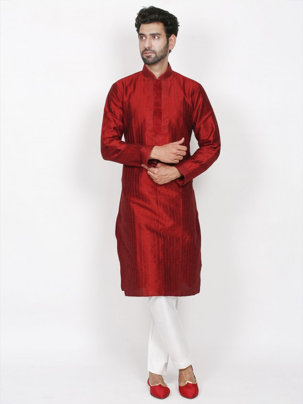 Maroon Colour Brocade Fabric Men's Kurta Pajama.