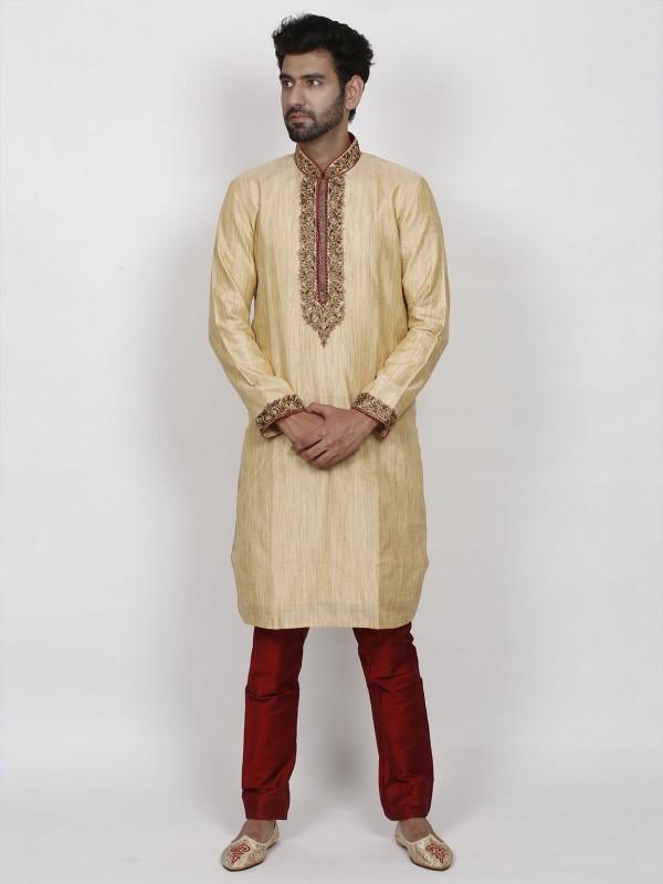 Golden Colour Traditional Kurta Pajama in Silk Fabric.