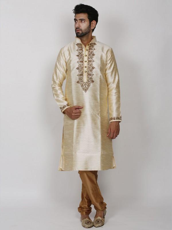 Cream Colour Dupion Silk Wedding Kurta Pajama.