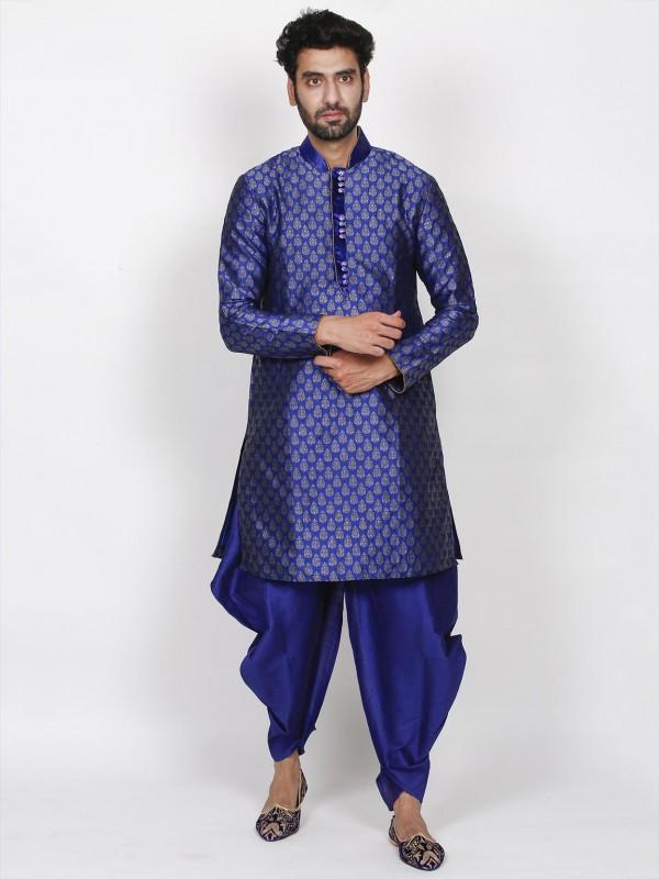 Men's Designer Indowestern Blue Colour in Brocade Fabric.
