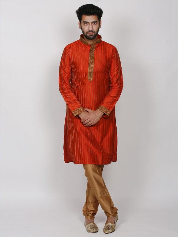 Rust Colour Dupion Silk Men's Kurta Pajama.