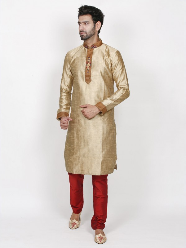 Golden Colour Brocade Fabric Designer Kurta Pajama.