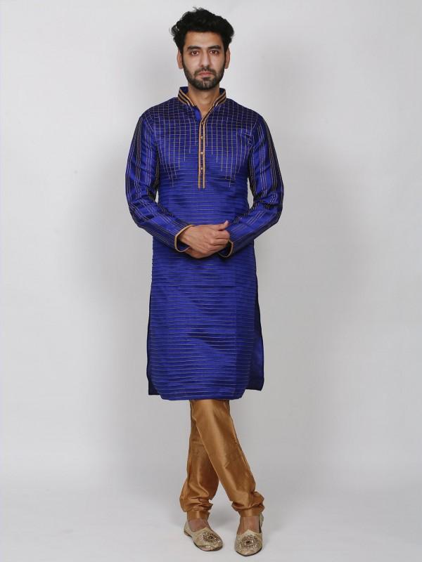 Blue Colour Dupion Silk Party War Kurta Pajama.