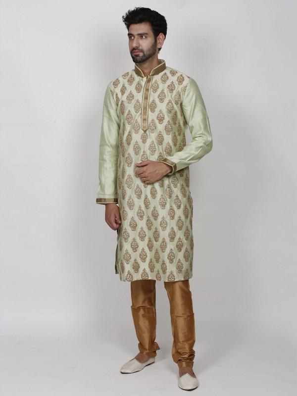 Pista Green Colour Indian Designer Kurta Pajama.
