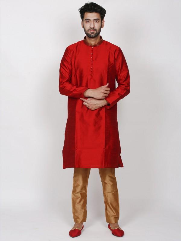 Maroon Colour Brocade Fabric Designer Kurta Pajama.