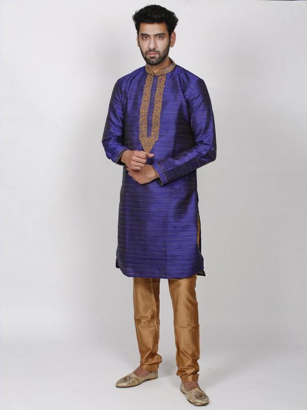 Men's Designer Kurta Pajama Blue Colour in Dupion Silk Fabric.