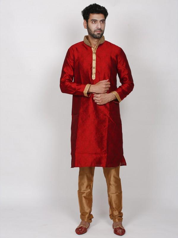 Maroon Colour Brocade Fabric Wedding Kurta Pajama.