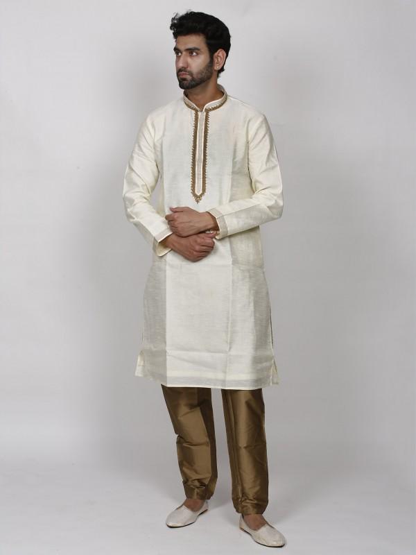 Cream Colour Dupion Silk Men's Designer Kurta Pajama.