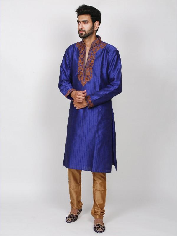 Blue Colour Dupion Silk Men's Kurta Pajama.