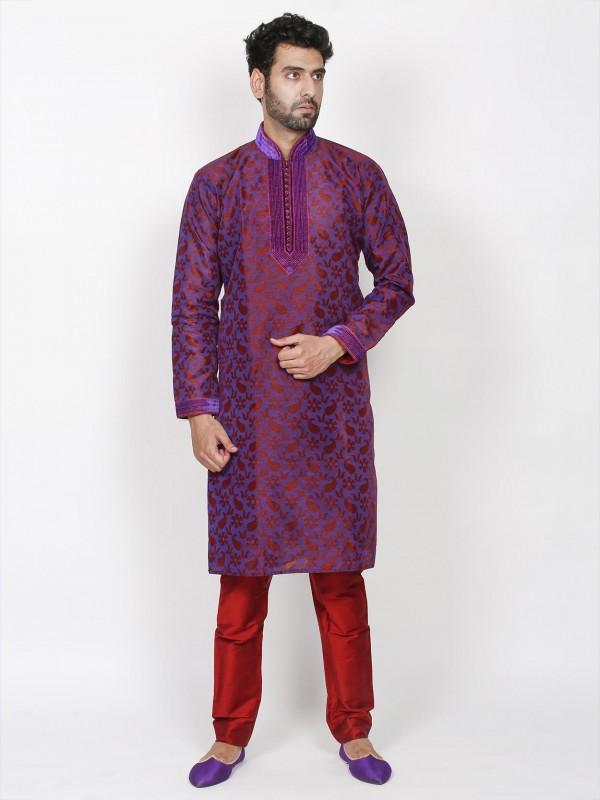Purple Colour Brocade Fabric Party Wear Kurta Pajama.