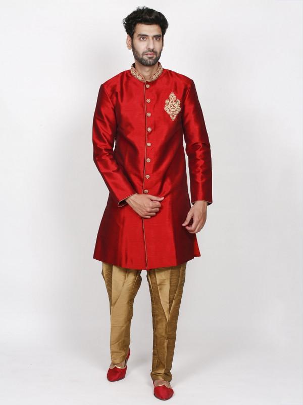 Maroon Colour Wedding Indowestern in Silk Fabric.