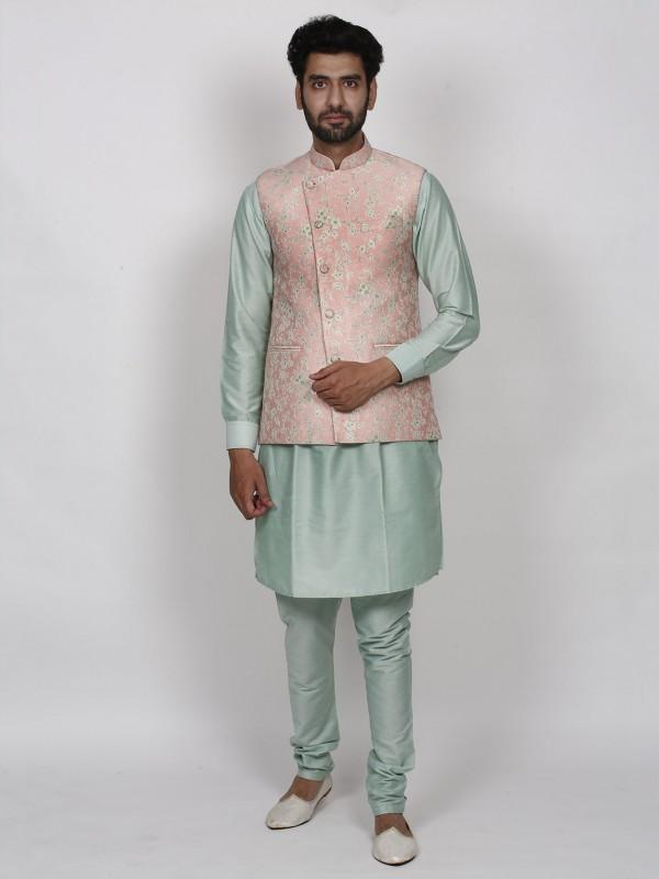 Peach,Pista Green Colour Imported Fabric Designer Kurta Pajama Jacket.
